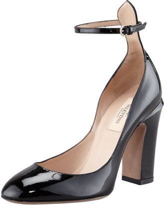 Valentino Patent Thick-Heel Ankle-Wrap Pump