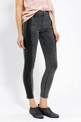 BDG Vegan Leather-Inset Pull-On Skinny Jean