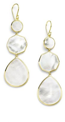 Ippolita Polished Rock Candy 18K Yellow Gold & Mother-Of-Pearl Crazy 8's Triple-Drop Earrings