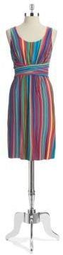 Spense Striped Pintuck Dress