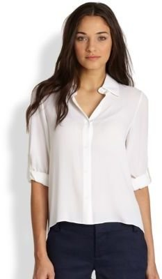 Alice + Olivia Silk Rolled Cuff Shirt
