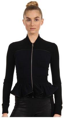 McQ Zip Knit Group - Jacket With Peplum Detail (Black/Dark Navy) - Apparel