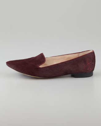Sam Edelman Alvin Calf Hair Smoking Slipper, British Burgundy