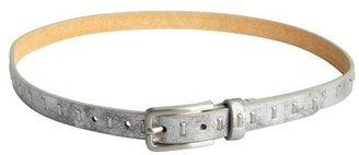 Fashion Focus silver distressed leather studded bar skinny belt