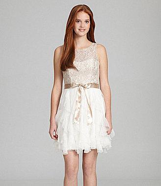 Teeze Me Lace-Top Ruffle Dress