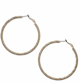 INC International Concepts Gold-Tone Large Textured Hoop Earrrings