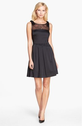 Tahari Lace Yoke Satin Fit & Flare Dress