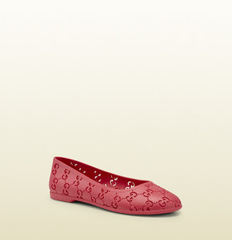 Gucci kid's watermelon rubber with GG pattern ballet flat