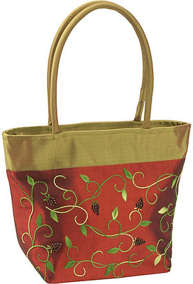 Global Elements Silk Satchel With Embroidery and Wooden Grapes