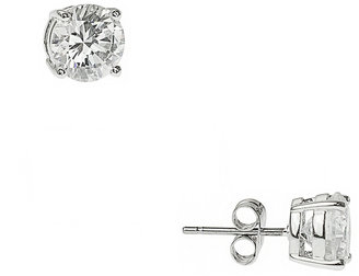Clear CZ Round Stud Earrings