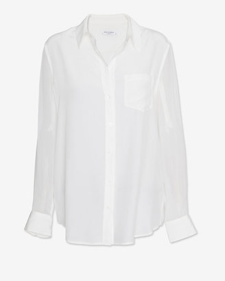 Equipment Exclusive Sheer Sleeve Blouse: White