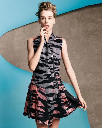 McQ by Alexander McQueen Tiger-Print Asymmetric Zip-Front Dress