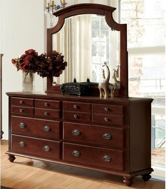 Furniture of America Sibu Cherry 2-piece Dresser and Mirror Set