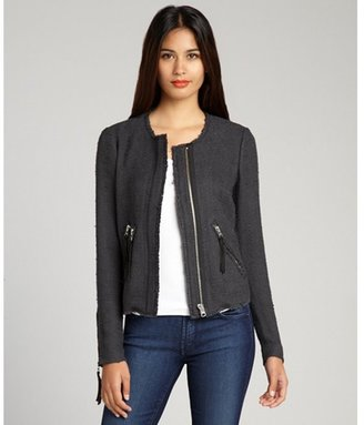 Rebecca Taylor charcoal cotton blended tweed ribbed trim zip jacket