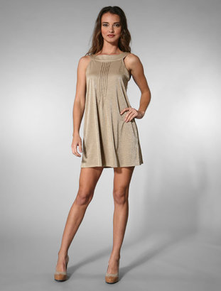 Zooey Velvet Contrast Round Neck Dress in Tan