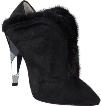 Fendi Fur-Trimmed Calf-Hair Shoe Boot