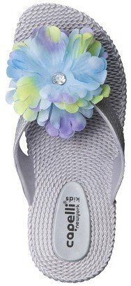 Girl's Wedge Flip Flop Sandals - Silver