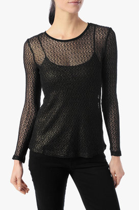 7 For All Mankind Lace Tee With Exposed Zipper In Gold