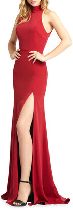 Mac Duggal Mock-Neck Sleeveless Jersey Gown with Thigh Slit