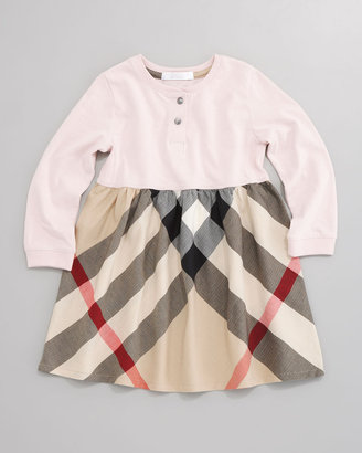 Burberry Check-Skirt Henley Dress, Ice Pink