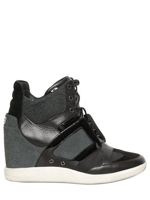 Y-3 50mm Leather And Textile Wedge Sneakers