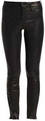 J Brand Mid-Rise Leather Skinny Jeans