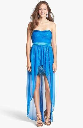 Hailey Logan Chiffon Overlay Sequin Dress (Juniors) (Online Only)