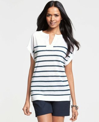 Ann Taylor Striped Linen Blend Cap Sleeve Sweater
