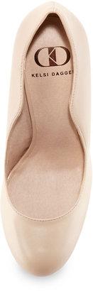 Kelsi Dagger Lillian Curved Leather Pump, Nude