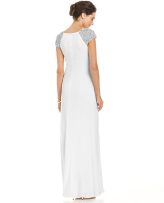 JS Boutique Cap-Sleeve Beaded Gown