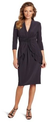 Jones New York Women's Matte Jersey Double Peplum Dress