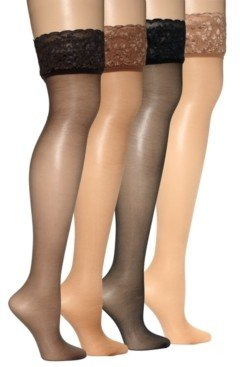 Hanes Women's Silky Sheer Lace Top Thigh Highs Pantyhose 0A444