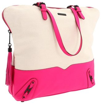 Rebecca Minkoff Canvas Zip Top Tote (Natural/Bright Pink) - Bags and Luggage