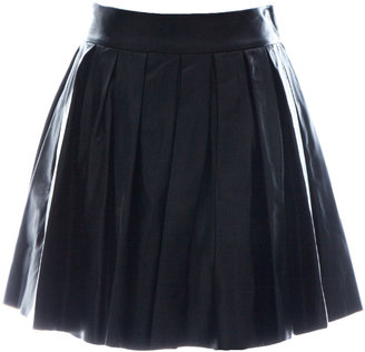 Alice + Olivia Box Pleat Lthr Mini Skirt