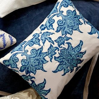 Williams-Sonoma Chinoiserie Blue Lotus Embroidered Pillow Cover