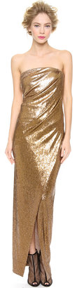 Donna Karan Strapless Twist Evening Dress