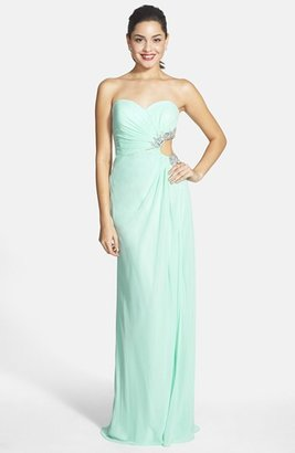 Faviana Embellished Cutout Sweetheart Chiffon Gown (Online Only)
