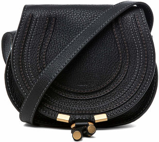Chloé Small Marcie Grained Calfskin Saddle Bag in Black | FWRD