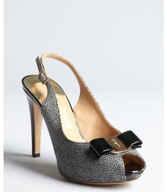 Salvatore Ferragamo black and white pebble embossed patent bow embellished slingback pumps