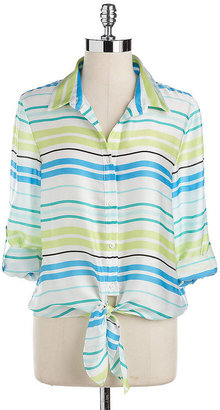 Vince Camuto Striped Roll-Tab Blouse