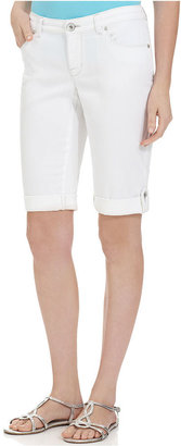 Style&Co. Petite Shorts, Curvy Bermuda Denim, Bright White Wash
