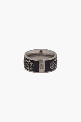 Alexander McQueen Black Enamel Skull Ring