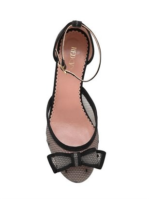 RED Valentino 10mm Rubber Net Bow Flats