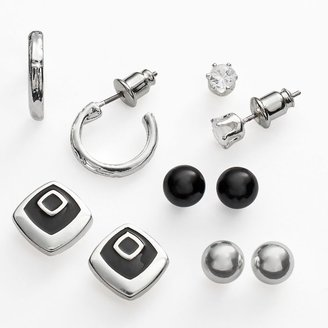 Croft & barrow silver tone simulated crystal stud, button stud & hoop earring set