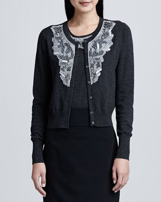 Magaschoni Beaded Cashmere Cardigan