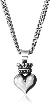 King Baby Studio Sterling Silver Curb Link Chain with 3D Crowned Heart Pendant Necklace 18""