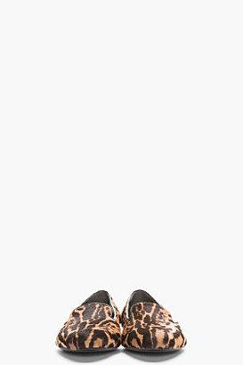 Alexander McQueen Tan Leopard Print Calf-Hair Slippers