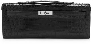 Hermes Heritage Auctions Special Collections Matte Black Nilo Crocodile Kelly Cut Clutch