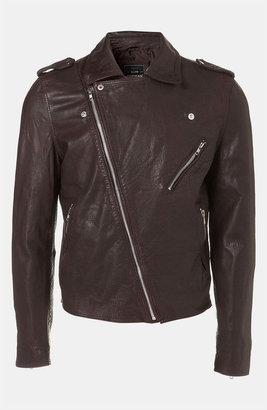 Topman 'Riva' Leather Biker Jacket
