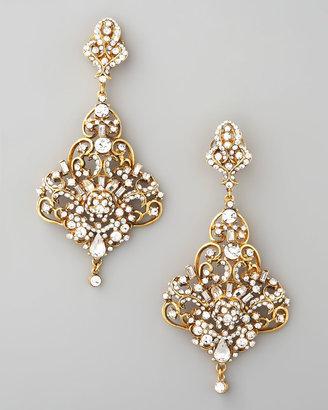 Jose & Maria Barrera Gold & Crystal Chandelier Earrings